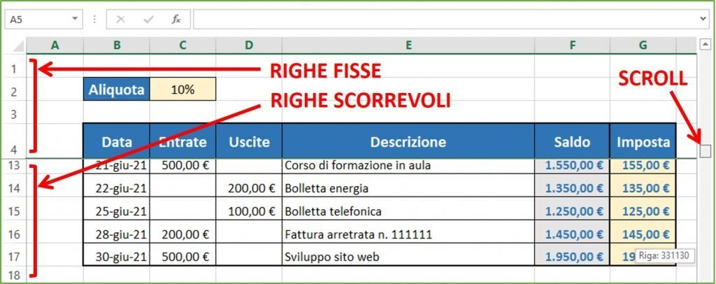 righe bloccate excel